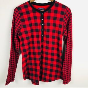 Chaps Red Buffalo Check Henley Knit Top NEW